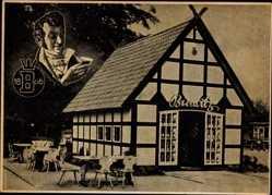 Ak Celle in Niedersachsen, Brennerei W. Burwitz, Fachwerkhaus, Burwitzer Gold