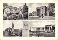 Postcard Rheydt Mönchengladbach im Ruhrgebiet, Schloss, Stadthalle, Rathaus
