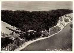 Postcard Ostseebad Göhren auf Rügen, Blick auf Haus am Hovt, A. Koos, Fliegeraufnahme