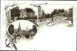 Litho Otterndorf im Kreis Cuxhaven, Straßenpartie, Gebäude, Segelboote