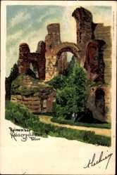 Künstler Litho Biese, C., Trier in Rheinland Pfalz, Ruinen des Kaiserpalastes