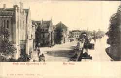 Postcard Oldenburg in Niedersachsen, Partie am Stau, Fluss, Kutsche, Häuser