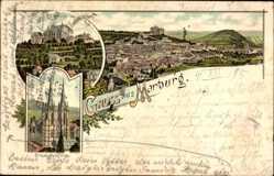 Vorläufer Litho Marburg an der Lahn, Totalansicht Elisabeth Kirche, 1895