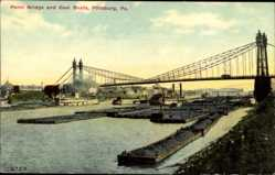 Postcard Pittsburgh Pennsylvania USA, Point Bridge and Coal Boats, Kohletransporter