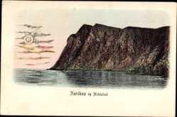 Postcard Norwegen, Nordkap og Midnatsol, Sonnenuntergang