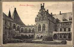 Postcard Bad Bentheim in Niedersachsen, Blick auf das Schloss, Innenhof, Fassade