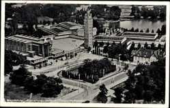 Postcard Magdeburg in Sachsen Anhalt, Ausstellungs Gelände, Fliegeraufnahme