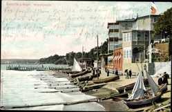 Postcard Sassnitz auf der Insel Rügen, Strandpartie, Segelboote, Anlegestelle
