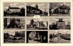 Postcard Zeitz, Rathaus, Michaeliskirche, Schloss Moritzburg, Bahnhof, Auebrücke