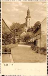 Postcard Großschönau im Kreis Görlitz, Straßenpartie mit Blick auf die Kirche