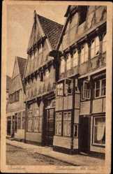 Postcard Buxtehude im Kreis Stade, Fischerstraße, alte Giebel, Fachwerkhäuser