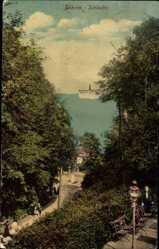 Postcard Ostseebad Göhren auf Rügen, Schlucht, Dampfschiff, Meerpartie, Terrasse