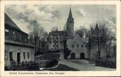 Postcard Neuhausen im Kreis Mittelsachsen, Schloss Purschenstein, Turm, Straße