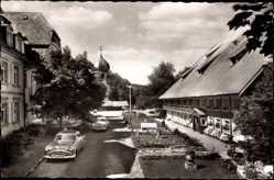 Postcard Hinterzarten im Südschwarzwald, Blick auf Hotel Adler, Auto, Kirchturm