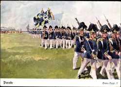 Künstler Regiment Ak Döbrich Steglitz, Grenadier Regiment 7 mit Fahnen, Parade