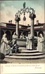 Ak Firenze Toscana, Certosa, Il Pozzo nel Chiostro grande alcuni Monaci, Mönche