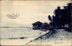 Postcard Singapur, Sea shore of Tanjong Katong, Wasserufer, Strohhütten