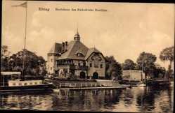 Ak Elbląg Elbing Ostpreußen, Bootshaus des Ruderclubs Nautilus