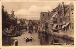 Postcard Dordrecht Südholland Niederlande, Voorstraatshaven, Fluss, Boot