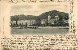 Ak Bad Schandau an der Elbe, Stadtansicht, Glockenturm, Flusspartie