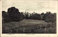 Postcard Laubach in Hessen, Blick auf das gräfliche Schloss, Felder, Bäume