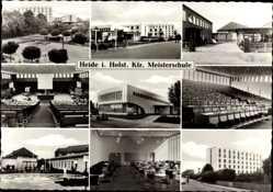 Postcard Heide in Holstein, KFZ Meisterschule, Stadtansichten, Hörsaal, Springbrunnen