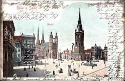 Postcard Halle Saale, Partie am Markt, Denkmal und Litfaßsäule in Altstadt, Geschäfte