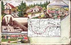 Landkarten Litho Ilmenau, Schmücke, Mönchshof, Schneekopf, Oberhof, Gehlberg