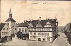 Postcard Blomberg, Blick auf das Rathaus, Neuetorstraße, Fachwerkhaus, Turm