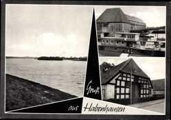 Postcard Habenhausen Bremen, Fachwerkhaus, Gewässerpartie, Gebäude, Straße