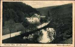 Postcard Oberhof im Thüringer Wald, Wildes Geratal, Flusspartie, Haus, Wald