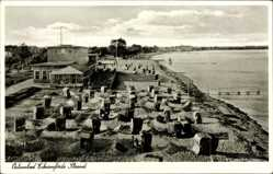 Postcard Eckernförde in Schleswig Holstein, Strandpartie, Meer, Strandkörbe