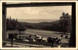 Postcard Ilmenau, Kurhaus Berghotel Gabelbach, Blick vom Hotel, Spazierwege