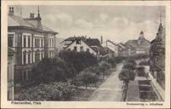 Postcard Frankenthal in Rheinland Pfalz, Neumayerring, Schulhaus, Straßenpartie