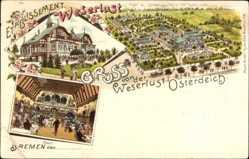 Litho Bremen, Weserlust Osterteich, Saal, Stadtpanorama, Gebäude