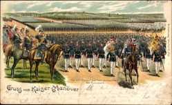 Litho Rossbach Braunsbedra, Kaisermanöver, Parade, Kaiser Wilhelm II.