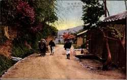 Postcard Japan, The Takao, Street view, inhabitants, Donkey