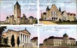 Ak Poznań Posen, Residenzschloss, Akademie, Ansiedlungskommission, Stadttheater