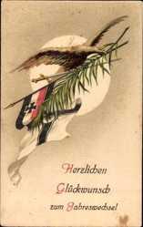 Postcard Glückwunsch Neujahr, Patriotik, Fahne, Adler, Kaiserreich