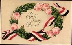 Passepartout Ak Ich denke Dein, Lorbeerkranz, Rosenblüten, Patriotik
