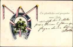 Postcard Glückwunsch Neujahr, Hufeisen, Patriotik, Kleeblätter