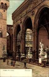 Künstler Litho Panerai, G., Firenze Florenz Toscana, Loggia dei Lanzi, Statuen