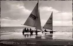 Ak Sankt Peter Ording in Nordfriesland, Ansicht von Strandseglern