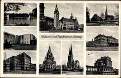 Postcard Chemnitz Sachsen, Adolf Hitler Platz, Schlossteich, Markt, Stadtbad