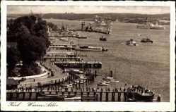 Postcard Kiel in Schleswig Holstein, Wasserallee mit Seebrücken