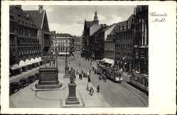 Postcard Chemnitz Sachsen, Blick auf den Markt, Straßenbahn, Ritterstatue