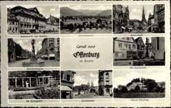 Postcard Offenburg im Schwarzwald Ortenaukreis, Neptunbrunnen, Lindenplatz, Schloss