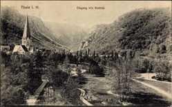 Postcard Thale im Harz, Eingang ins Bodetal, Kirchturm