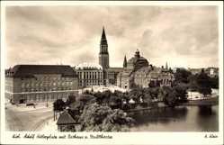 Postcard Kiel in Schleswig Holstein, Adolf Hitler Platz mit Rathaus und Stadttheater