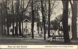 Postcard Bad Pyrmont in Niedersachsen, Hauptallee, Theater und Lortzing Denkmal